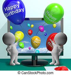 computador, balões, saudação, aniversário, celebra, feliz