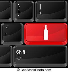 computador, botão, bebida