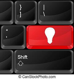 computador, botão, bulbo