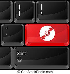 computador, botão, cd