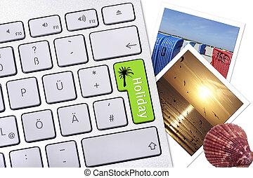 computador, botão, com, etiqueta, feriado