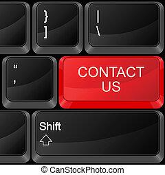 computador, botão, contato