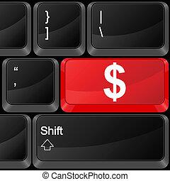 computador, botão, dólar