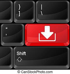 computador, botão, download