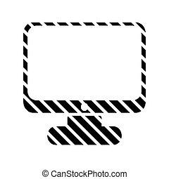 computador, botão, ligado, white.