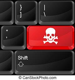 computador, botão, perigo