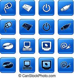computador, botões