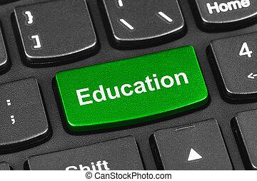 computador, caderno, teclado, com, educação, tecla