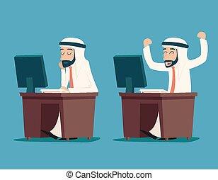 computador, caráteres, trabalhando, ilustração, árabe, vetorial, desenho, retro, fundo, escrivaninha, homem negócios, elegante, caricatura, ícone