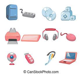 computador, caricatura, ícone