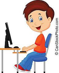 computador, caricatura, criança, pessoal