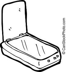 computador, caricatura, scanner
