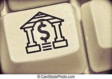 computador, dólar, tecla, sinal