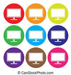 computador desktop, ícone, jogo, vetorial
