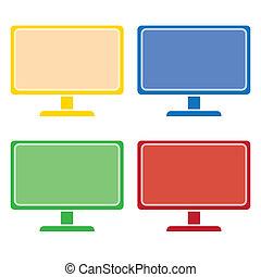 computador desktop, colorido, jogo, vetorial