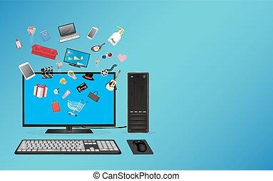 computador desktop, fazendo compras online