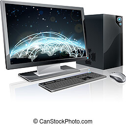 computador desktop, globo mundial
