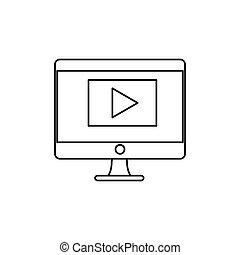 computador desktop, isolado, ícone