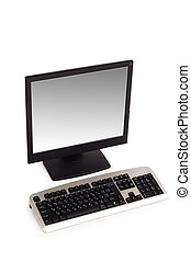 computador desktop, isolado, ligado, a, fundo branco