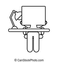 computador desktop, local trabalho, ícone