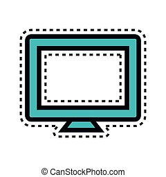 computador desktop, monitor, ícone