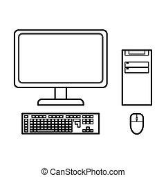 computador desktop, vetorial