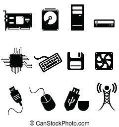 computador, e, ícones tecnologia