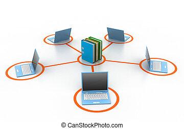 computador, e, documentos, rede