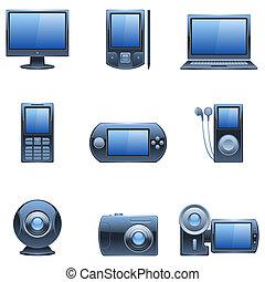 computador, e, mídia, icons.