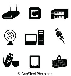 computador, e, rede, dispositivos