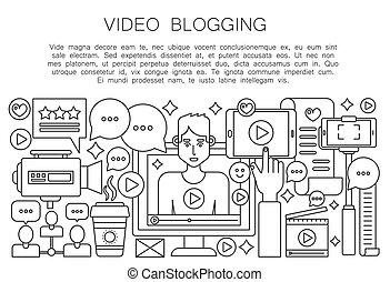 computador, esboço, pessoal, blogger, concept., blogger., transmissão, apoplexia, vetorial, vídeo, magra, homem, tela, linha, macho, blogging, canal, illustration.