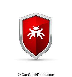 computador, escudo, infecção, sinal, proteção vírus, segurança internet, alerta, aviso, trojan.