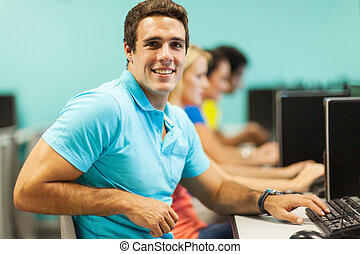 computador, faculdade, sala, estudante, macho