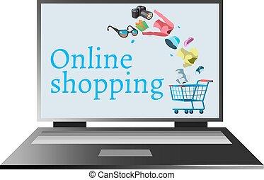 computador, fazendo compras online