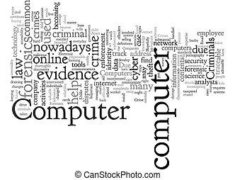 computador, fundo, wordcloud, forense, conceito, crime, texto