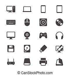 computador, glyph, ícones