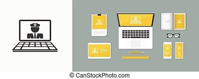 computador, guarda, -, vetorial, apartamento, ícone