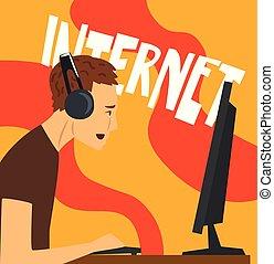 computador, hábito, modernos, personagem, dependência, ilustração, sociedade, mau, vetorial, internet, jogos, vício, tocando, homem
