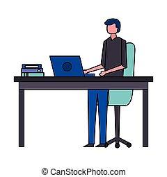 computador homem, trabalhando escritório, escrivaninha