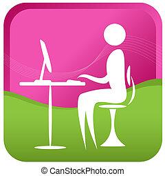 computador, human, trabalhando