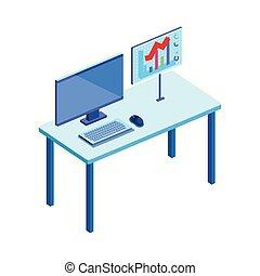 computador, isolado, ícone, desktop, local trabalho