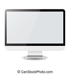 computador, isolado, vetorial, white., eps10, exposição