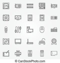 computador, jogo, componentes, ícones