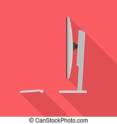 computador, lado, desktop, vista