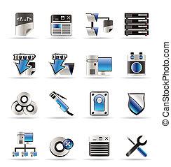 computador, lado, servidor, ícones