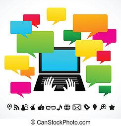 computador laptop, com, fala, bolhas