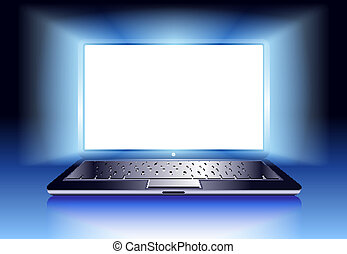 computador laptop, com, luz