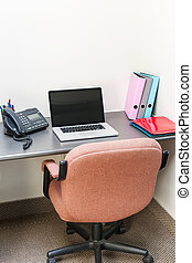 computador laptop, cubículo, escritório