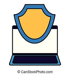computador laptop, dados, escudo, proteção