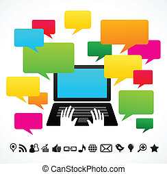 computador laptop, fala, bolhas